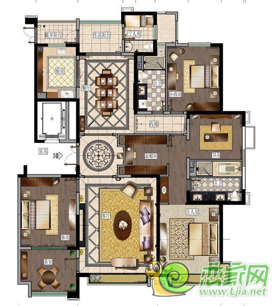美的城五房户型图