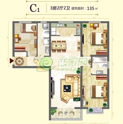 中央名都 三室两厅两卫 面积约135平米