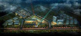 現代國際汽貿城總體鳥瞰圖夜景