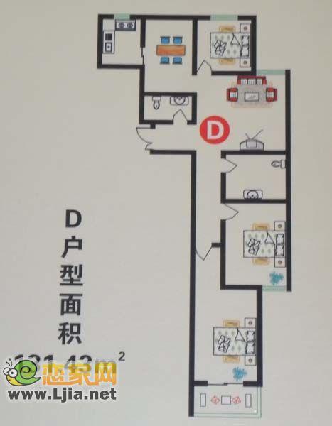 百家新城D户型  三室两厅两卫