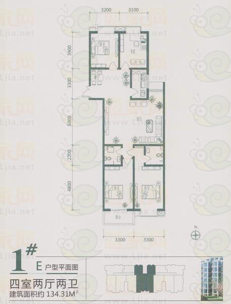 百家新城先锋苑 1#楼 E户型 四室两厅两卫