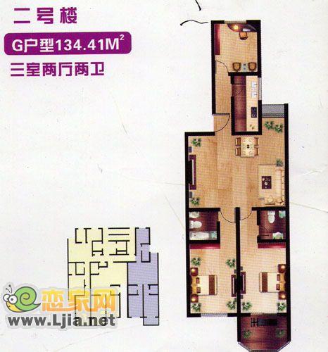 百家新城二号楼G户型:三室两厅两卫