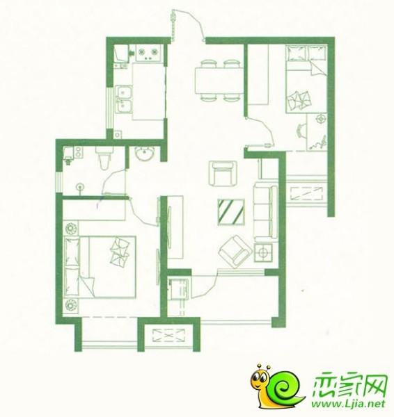 阿尔卡迪亚阳光苑3#楼 两室两厅一卫