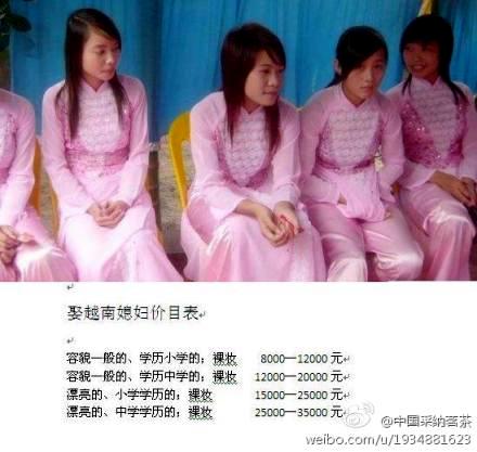 越南媳妇价目表网上曝光