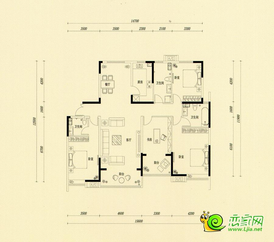 A—2户型 西苑1#楼