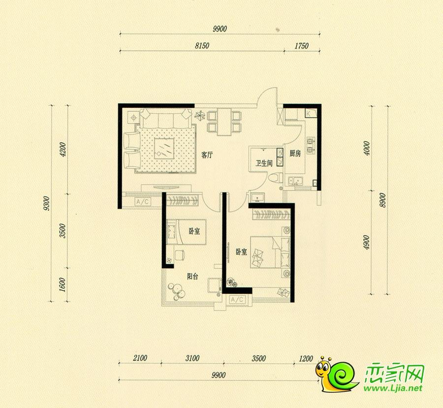 西苑4#楼 中户91㎡