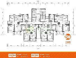 美的时代城8号楼2单元户型图