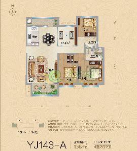 YJ143-A户型 建筑面积约158�O