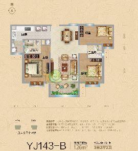 YJ143-B户型 建筑面积约126�O