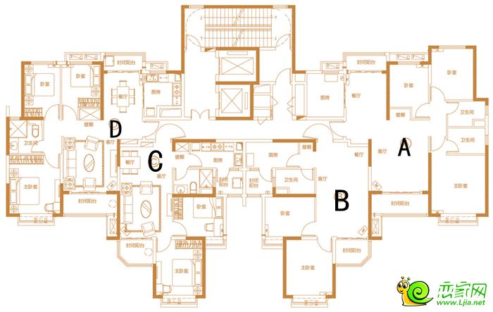 4栋2单元标准层平面图 户型A 三室二厅二卫建筑面积:约133.09 奢适三房,布局合理,内外兼得,揽尽生态美景;主卧朝南,呼吸新鲜空气,尽赏日月轮回;超宽全景飘窗,通透视野,领略人生豁达境界。 户型B 二室二厅一卫建筑面积:约89.14 实用布局,分配合理,使用舒适方便;餐客通厅,宽敞空间,于美食中映射生活;主卧大飘窗设计,私密空间,尊崇独享。 户型C 二室二厅一卫建筑面积:约89.