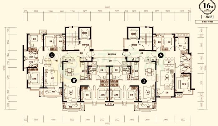 14# 图为14号楼,共一个单元,分为两梯四户,四种户型: G户型为东边户,三室两厅两卫,建筑面积约131 客厅:宽阔方正的朝南客厅,温暖而明亮,阳光的温度使人心情愉悦; 卧室:三是设计,主卧独立卫浴,舒适便利,卓越生活,乐享体验。 阳台:每天享受户外花草,阳光普照,美好心情可以像植物一样生长; 厨房:方正的厨房设计,让一切井然有序,烹饪的心情也是如此轻松。 餐厅:主题餐厅,适合多方品味,周末夜晚与朋友小聚,愉悦而酣畅。 K户型为中西户,三室两厅两卫,建筑面积约122 客厅:大开间客厅设计,宽阔舒适格