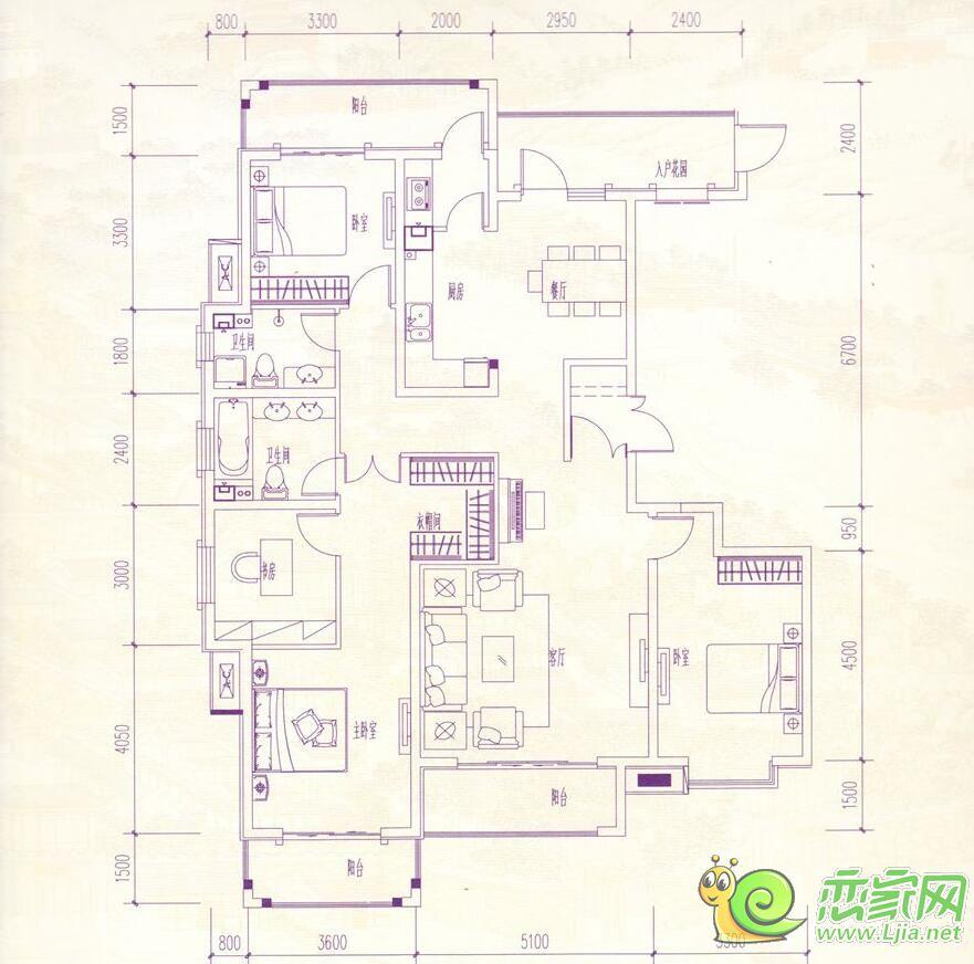 赵都华府190㎡c3户型,4室2厅2卫装修案例