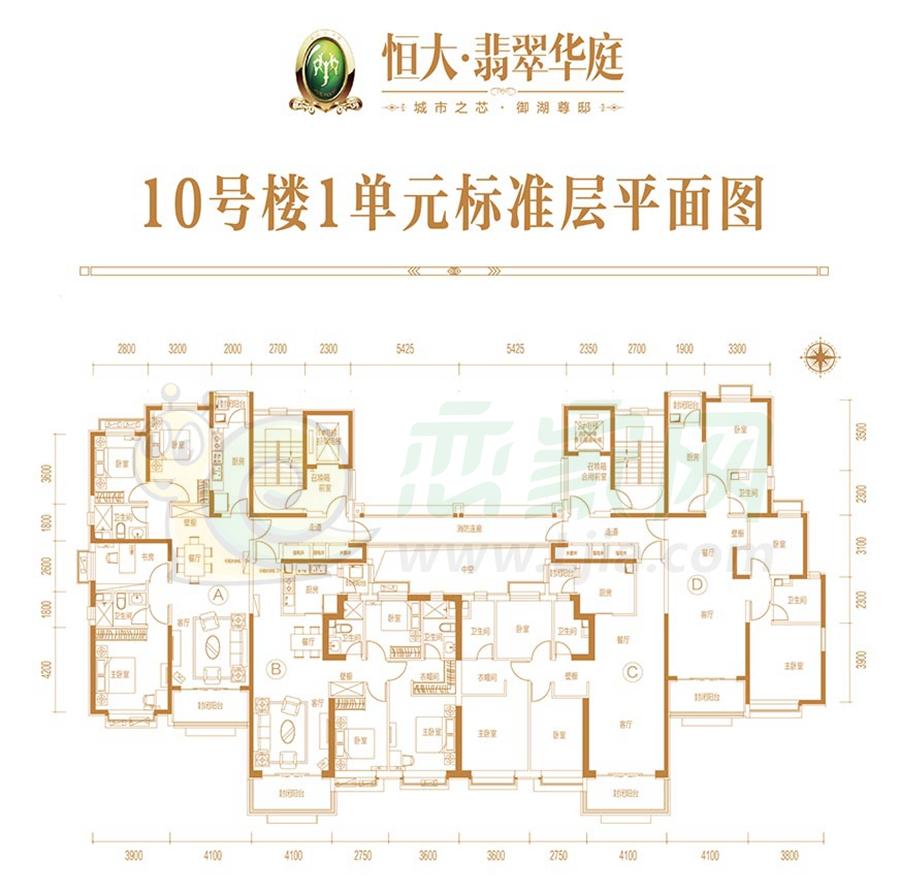 10号楼1单元标准层平面图