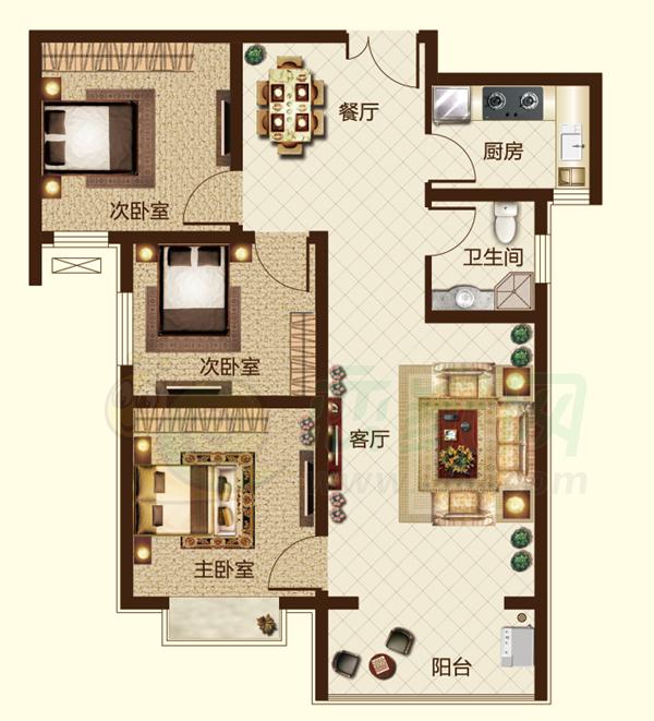 99㎡ 三室两厅一卫