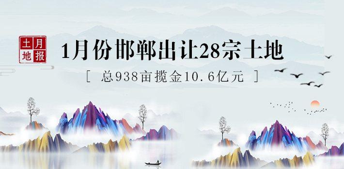 土地月报 1月份邯郸出让28宗土地,总938亩揽金10.6亿元