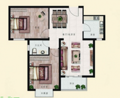 龍湖公園附近叢臺花園小區精裝修簡單家具家電全明兩居