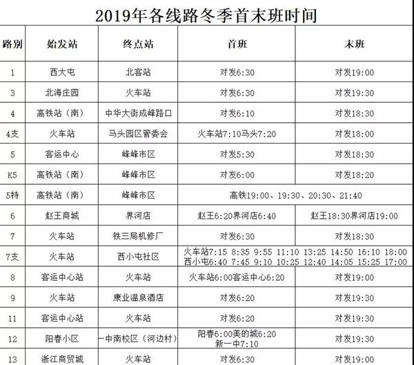 邯郸公交车执行冬季运营时间,10月8日开始!