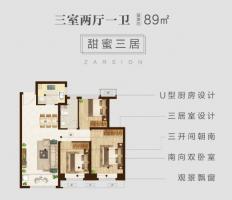 泽信地产|最新作品约89㎡三室两厅一卫户型解析