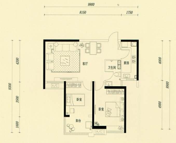 万浩金百合西区全款包更名2居室顶层有钥匙