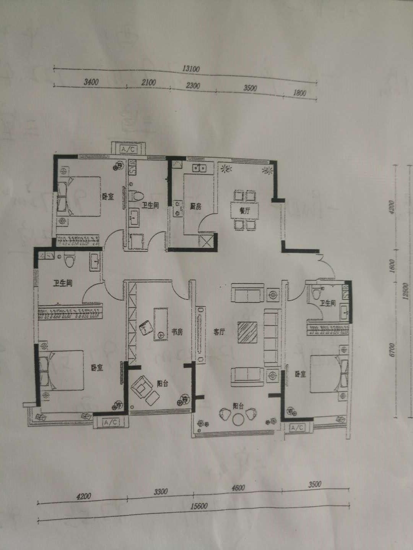 万浩金百合西区4居室有证能贷款一层2户总高11层