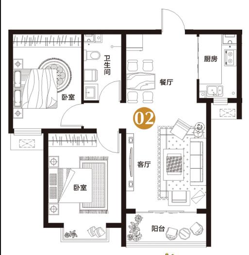 万浩金百合北区全款包更名2居室