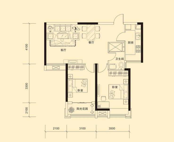 万浩金百合东区中等装修2居室有证能贷款