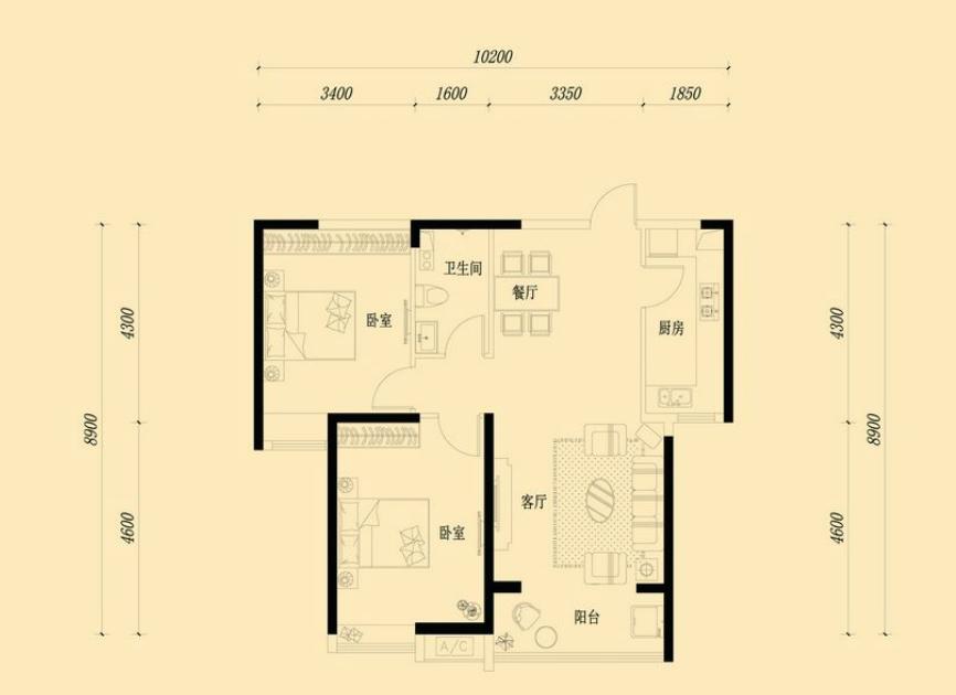 万浩金百合西区精装修2居室送部分家具家电